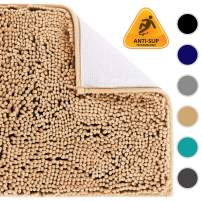 Colorxy Shaggy Chenille Loop Bathroom Rugs - Solid Shag Washable Bath Mat Runner Non Slip, Soft, Plush for Bathroom Shower with Water Absorbent Memory Foam (16x24 Inch, Beige)