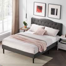 VECELO Classic Upholstered Platform Bed Diamond Stitched Cloth Panel Headboard/Mattress Foundation/Easy Assembly/Strong Slat Support, Queen, Dark Grey