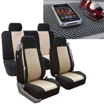 FH Group FB302114 All-Purpose Built-in Seatbelt Classic Cloth Seat Covers (Beige) Full Set with Gift - Universal Fit for Cars, Trucks & SUVs