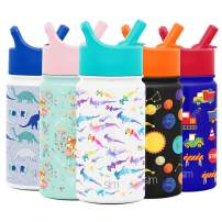 Simple Modern 14oz Summit Kids Water Bottle Thermos with Straw Lid - Dishwasher Safe Vacuum Insulated Double Wall Tumbler Travel Cup 18/8 Stainless Steel -Watercolor Sharks
