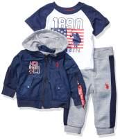 U.S. Polo Assn. Baby Boy's Classic Zip Up Jacket, T-Shirt, and Fleece Jogger Set Pants