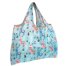 allydrew Large Foldable Tote Nylon Reusable Grocery Bag, Llamas