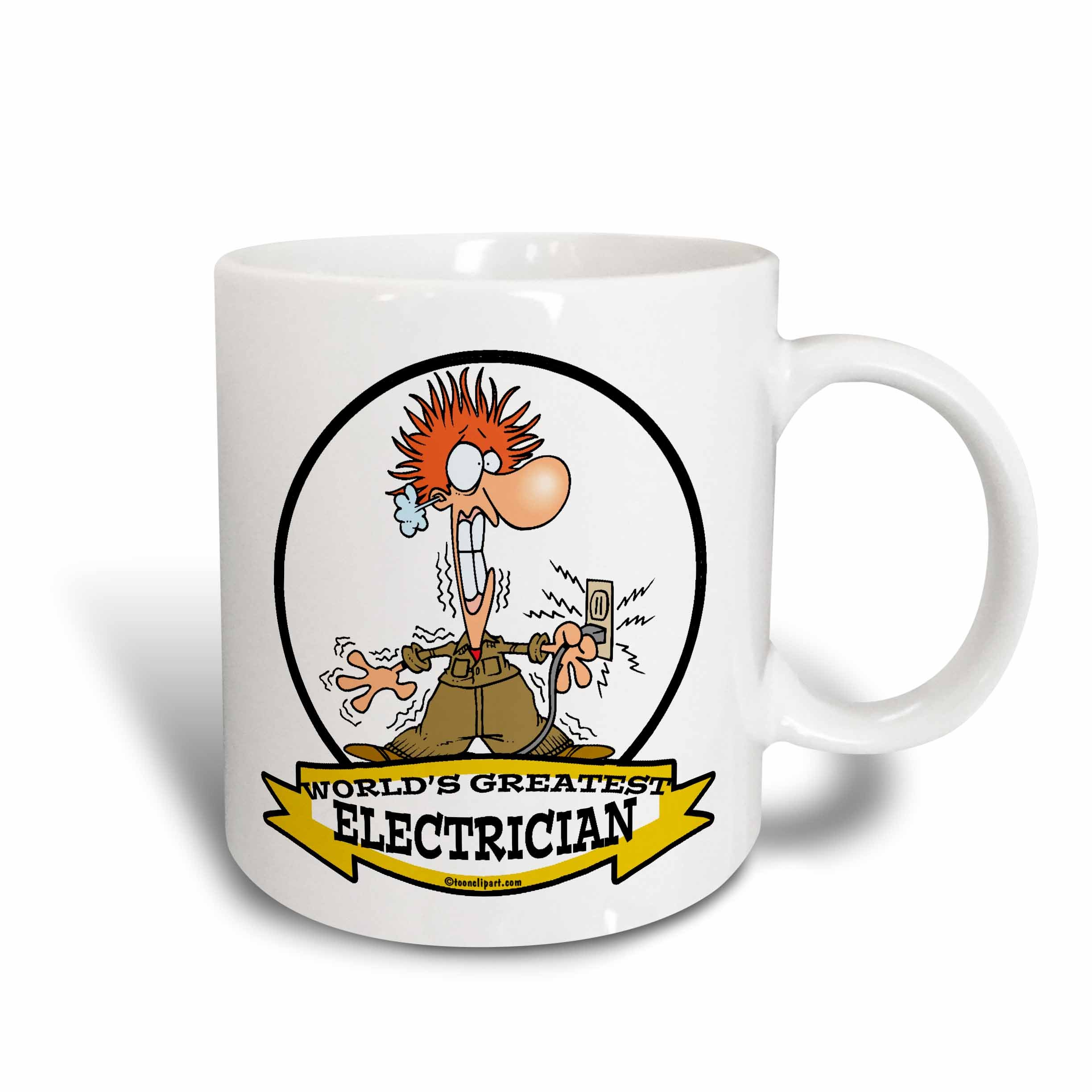 3dRose 103149_1 Funny Worlds Greatest Electrician Cartoon Ceramic Mug, 11 oz, White