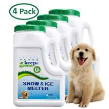 KEEP IT GREEN Pet Safe Ice Melt - 12 Pound Jug, 4 Pack - Nontoxic Child Friendly Snow Melter Rock Salt Pellets - Green Tint - Time Release Fertilizer for Grass and Garden - Calcium Chloride Free