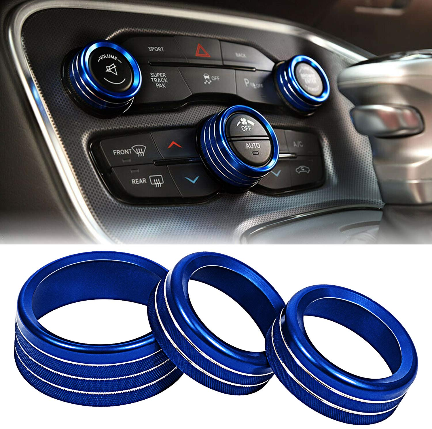 Toolepic For Dodge Challenger Charger Accessories 2015 2020 Decal Trim Rings Set Of 3 Aluminum Alloy Indigo Blue Air Conditioning Volume Radio Button Knob Cover Perfect For Decoration