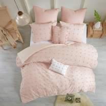 "Urban Habitat Brooklyn Duvet Set 100% Cotton Jacquard, Tufts Accent, Embroidered Toss Pillows, Shabby Chic All Season Comfoter Cover, Matching Shams, Bedskirt, Full/Queen(88""x92""), Pink 7 Piece"