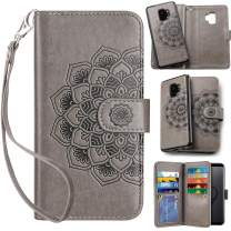 Vofolen 2-in-1 Case for Galaxy S9 Case Wallet Credit Card Holder ID Slot Detachable Strap Hybrid Protective Slim Hard Shell Magnetic PU Leather Folio Pocket Flip Cover Case for Galaxy S9 Mandala Grey