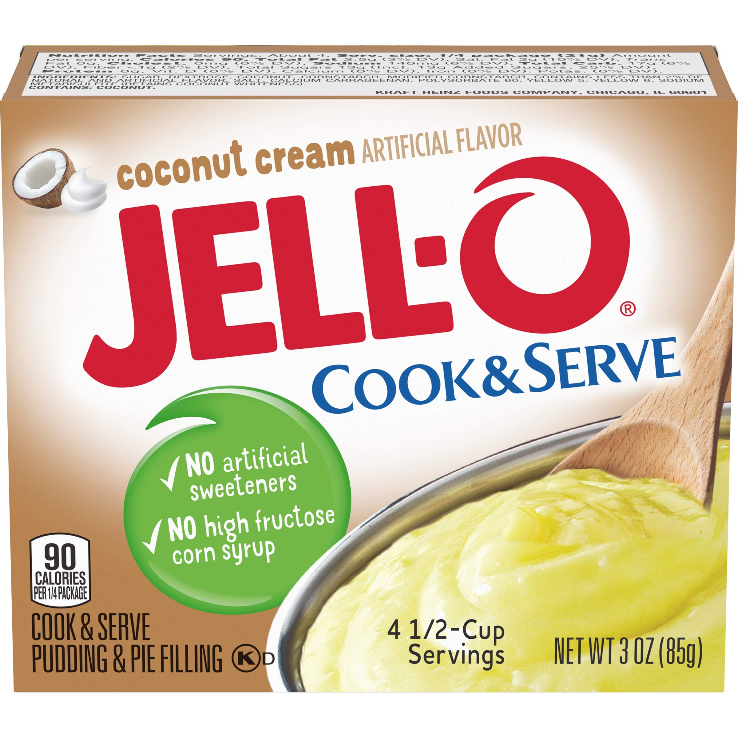 JELLO Instant Coconut Pudding Mix (3oz Boxes, Pack of 6)