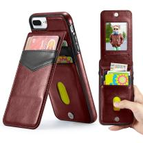 Marval.P Holster Leather Wallet Case, Up Flip Slim Premium Genuine Card Slots Shockproof Folio Defender Shell Magnetic Clasp Kickstand Holder for iPhone 6/6s 7/8 Plus X Cover (iPhone 6/6s Brown)
