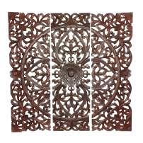 Benjara Three Piece Wooden Wall Panel Set with Traditional Scrollwork and Floral Details, Brown, Dark