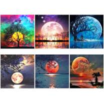 XPCARE 6 Pack 5d Diamond Painting Kits Full Drill Rhinestone Moon Diamond Pictures for Home Wall Decor(Canvas 12 X 12 Inch)