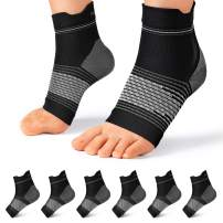 Plantar Fasciitis Sock (6 Pairs) for Men and Women, Compression Foot Sleeves with Arch and Ankle Support (Black, Medium)