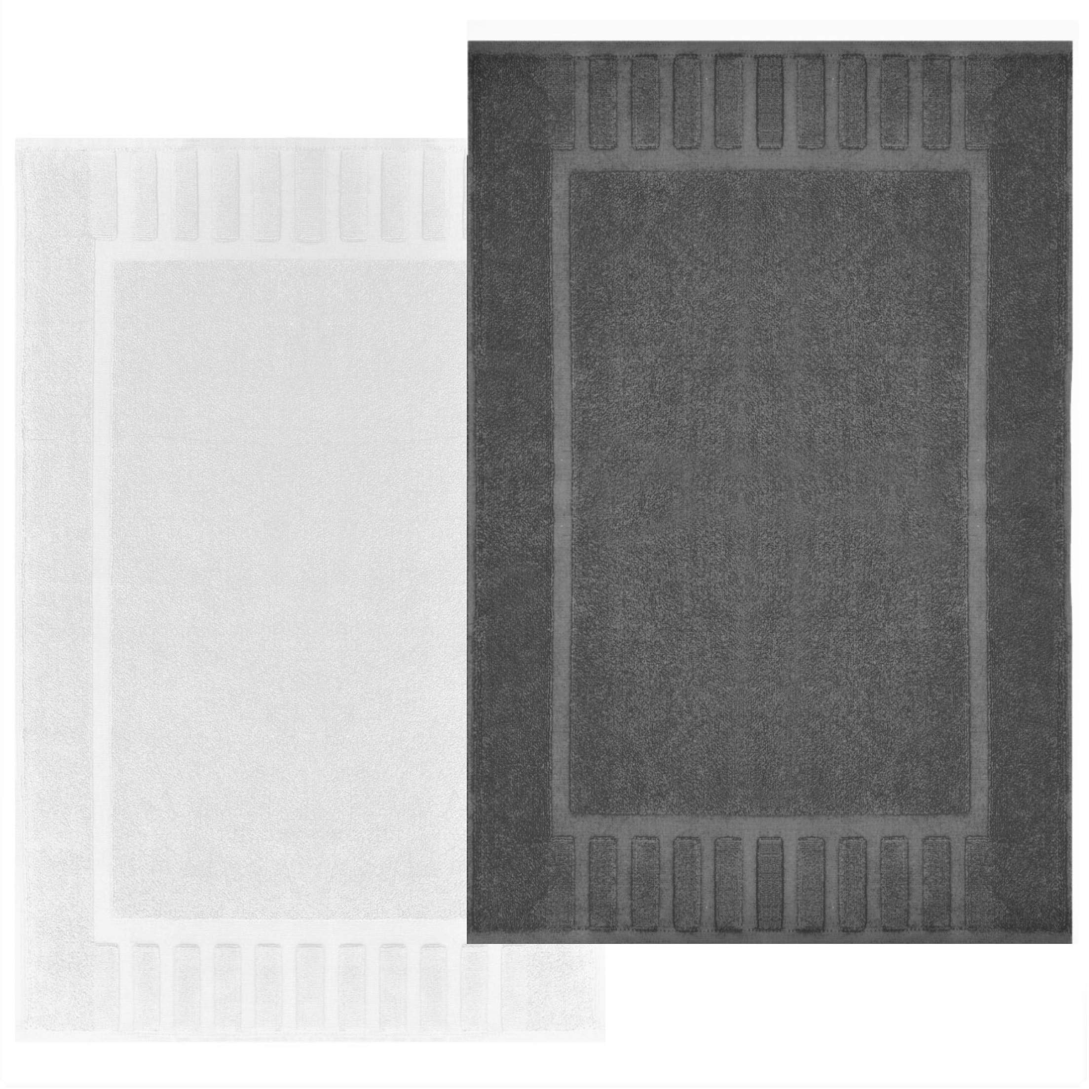 "White Classic Luxury Bath Mat Floor Towel Set - Absorbent Cotton Hotel Spa Shower/Bathtub Mats [Not a Bathroom Rug] 22""x34"" | 2 Pack | 1-Grey/1-White"