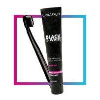 Curaprox Black is White Toothpaste Set Charcoal Whitening Toothpaste 3.04 oz. + CS 5460 Toothbrush