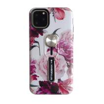 """Hosgor Flowers iPhone 11 Pro Max Case with Finger Grip, 3D Print Design Rugged Shockproof Slim Soft TPU + Matte PC Dual Layer Finger Ring Strap Cover for iPhone 11 Pro Max - 6.5"""" 2019 (Peony)"""