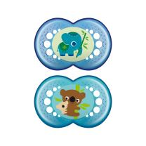 MAM Crystal Pacifier (2 pack, 1 Sterilizing Pacifier Case), Pacifiers 6 Plus Months, Baby Boy Pacifier, Best Pacifiers for Breastfed Babies, Designs May Vary