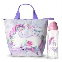 Tri-Coastal Design Insulated Lunch Tote Bag Set Dreamers Unicorn Tote Lunch Box and Water Bottle - Large Reusable Lunch Bag and Non BPA Flip Top Plastic Water Bottle - 2 Piece Gift Sets for Girls