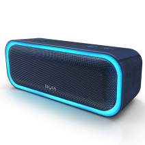 [Upgraded] DOSS SoundBox Pro Portable Wireless Bluetooth Speaker with 20W Stereo Sound, Active Extra Bass, Wireless Stereo Pairing, Multiple Colors Lights, Waterproof IPX5, 12 Hrs Battery Life -Blue