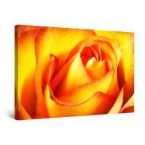 "Startonight Canvas Wall Art Red Orange Macro Rose Petals Flowers Painting Framed 24"" x 36"""