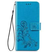 for LG Stylo 6 Wallet Case, [Flower Embossed] Premium PU Leather Flip Protective Case Cover with Card Holder and Stand for LG Stylo 6 2020 Release (Blue)