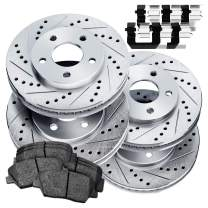 Fit 2002-2003 Subaru Impreza PowerSport Full Kit Brake Rotors Kit+Ceramic Brake Pads