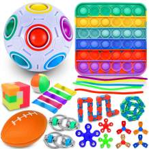 i-FSK 26 Pack Fidget Toys Set with Square Rainbow Push pop Bubble Sensory Toy, Relieves Stress and Anxiety Bundle for Kids Adults, Magic Rainbow Puzzle Ball, Fidget Spinner, Marble Mesh Tube & More.
