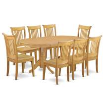 """9-Piece Vancouver Dining Table with one 17"""" Leaf and 8 Wood Dinette chairs in Oak finish."""