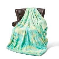 """FFLMYUHUL I U Luxury Super Soft Microplush Velvet Blanket Soft Plush Reversible Throw Blanket for Bedroom (50"""" x 65"""", MT08-Green Multi Color)"""