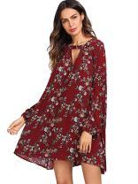 Milumia Women's Boho Floral Print Long Sleeve Loose Short Mini Tunic Dress