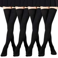 Women Thigh High Socks Extra Long Thick Tall Knitted Over the Knee Leg Warmers Cotton, 3 Pack/4 Pack