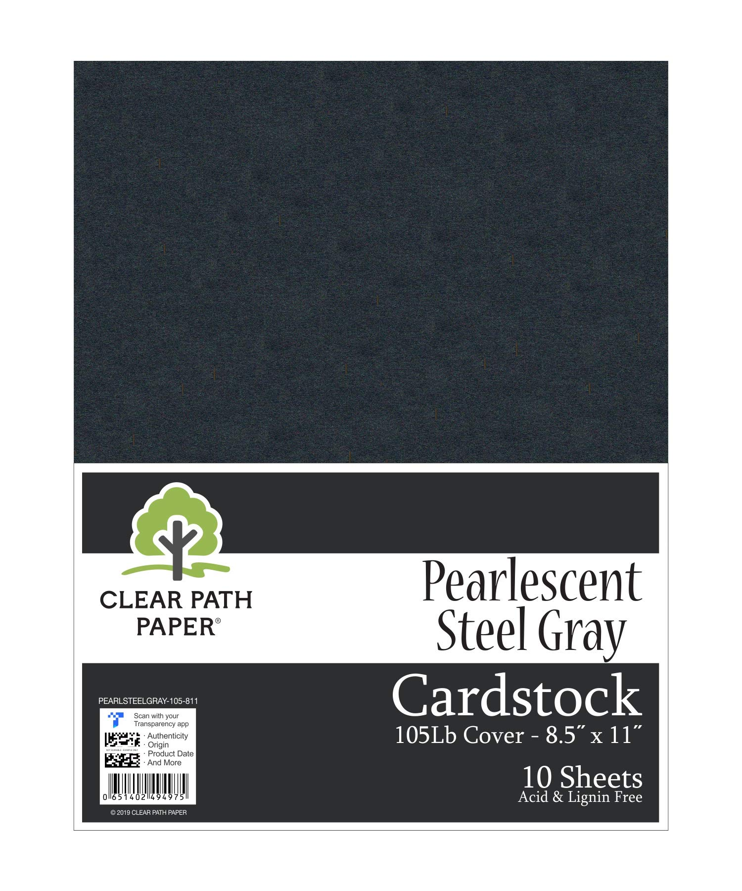 Pearl Shimmer Metallic Steel Gray Cardstock - 8.5 x 11 inch - 105Lb Cover - 10 Sheets