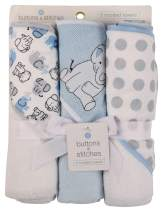 Buttons and Stitches Baby Boys 3 Pack Infant Hooded Towel, Blue Elephant Prints (GS71381)