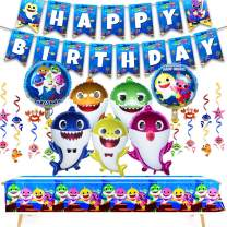 AWESMR 39 Pieces Baby Shark Theme Birthday Party Supplies and Decorations with 30 Pieces Baby Shark Swirl Decorations 1 Piece Baby Shark Birthday Banner 7 Pieces Shark Foil Helium Balloons 1 Piece Large-size Baby Shark Table Cloth for Shark Party Kid Baby Shower Event Decor