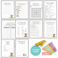 Baby Shower Games (New and Improved) - Ultimate Gender Neutral Kit | Contains 10 Classic Games Like Baby Bingo, Baby Shower Advice Cards, Emoji Game - 50 Sheets of Each | 25 Complementary Pens