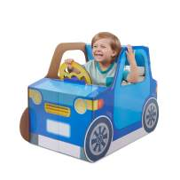 WowWee Indoor Baby Car – Sturdy and Eco-Friendly Cardboard Toddler Toy Car by Pop2Play – Includes 10 Accessories (Blue)