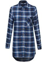 Awesome21 Women's Long Sleeve Button Down Plaid Dress w/Attached Belt