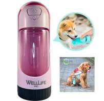 WELL LIFE PET - Dog Water Bottle Travel Bowl Portable Leak Proof Pet Water Dispenser Dog, Cat or Puppy, 14oz, Replaceable Carbon Filter, Collapsible Water Container Carrier, Carry Strap, US Based Biz