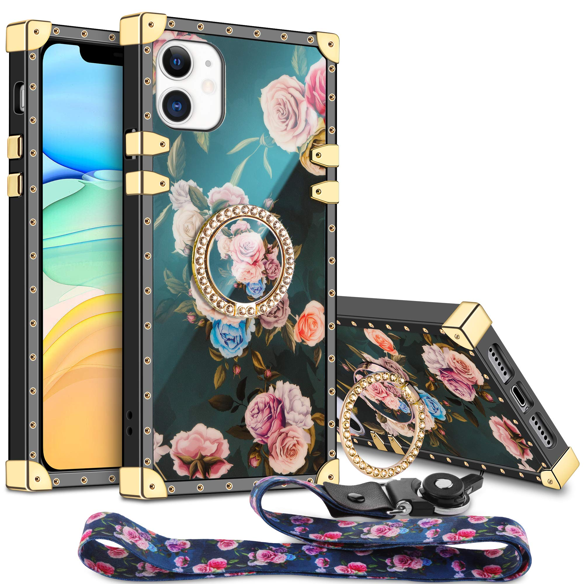 Aemotoy for iPhone 11 Case Floral Cute with Ring Holder Grip Lanyard Girly Square Reinforced Corners Protective Shell Flexible TPU Shockproof Cover for 6.1 inch iPhone 11 Peony