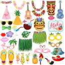 36Pcs Luau Photo Booth Props Kit,Hawaiian Tropical Tiki Beach Summer Pool Party Decorations Supplies