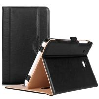 Procase Galaxy Tab E 8.0 Case - Leather Stand Folio Case Cover for Galaxy Tab E 8.0 4G LTE Tablet (Sprint,US Cellular, Verizon) SM-T377, Multiple Viewing Angles, Document Card Pocket (Black)