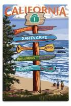 Lantern Press Santa Cruz, California, Destinations Sign (12x18 Aluminum Wall Sign, Wall Decor Ready to Hang)