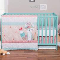 Wild Forever Pink Forest Animal Theme 3 Piece Baby Girl Crib Bedding Set