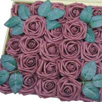 J-Rijzen Jing-Rise Artificial Roses 50pcs Real Looking Grape Purple Fake Flowers for Bride Wedding Bouquet Baby Shower Flowers Centerpieces Party Home Decorations (Prune/Grape Purple)
