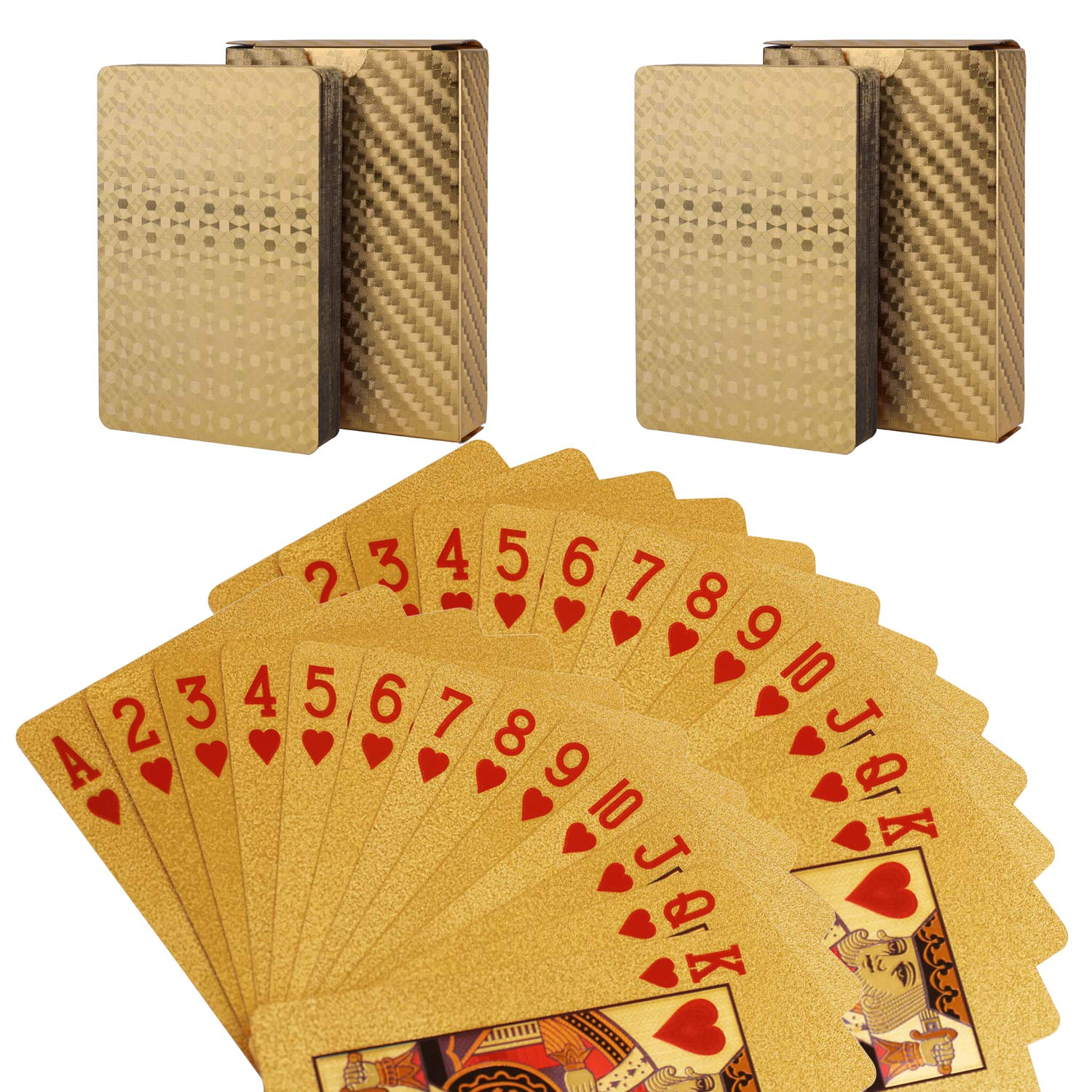 Waterproof Deck of Cards, 52+2 Playing Cards, 24k Gold Foil Plastic Poker Cards Standard Size - Luxury Magic Tricks Tools for Party and Table Game (2 Golden)
