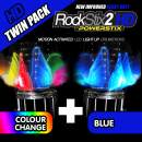 ROCKSTIX 2 HD BLUE, BRIGHT LED LIGHT UP DRUMSTICKS, with fade effect, Set your gig on fire! (BLUE and COLOR CHANGE TWIN PACK)