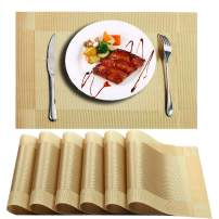 Niskite Table Placemats Set of 6 Plastic Place Mats for Dining Table Non-Slip Washable Table Mats,Heat Resistant Crossweave Woven Vinyl Placemat for Kitchen Dinner Table Gold