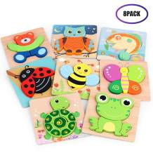 VSATEN Wooden Jigsaw Puzzles for Toddlers, 8 Pack Animal Puzzles for Kids Age 1 2 3 Years Old Educational Toys Gifts for Boys and Girls