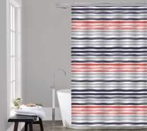 "Posh Home Printed Colorful Microfiber Shower Curtain 70"" x 72"" & Shower Hook 13 Piece Set Bathroom (Three Color Stripes)"