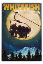 Lantern Press Whitefish, Montana - Ski Lift and Full Moon (12x18 Aluminum Wall Sign, Wall Decor Ready to Hang)