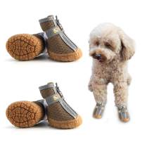 Hcpet Breathable Pet Dogs Shoe TPR Rubber Outsole Non-Slip Waterproof Durable Small Dog Booties with Zipper 4PCS/Set